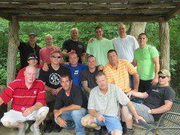 a large group of men in recovery from addiction at recovery ventures asheville NC