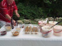 a large buffet of food at the celebration of freedom from addiction in asheville NC