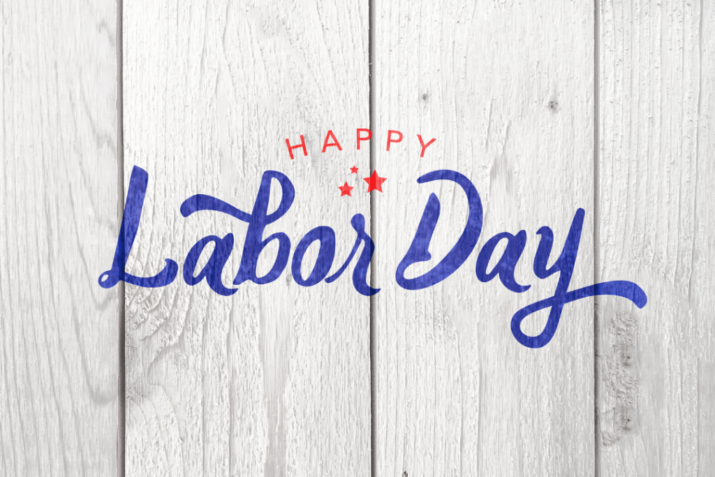 happy labor day image embossed on a white picket fence to celebrate sobriety with Recovery Ventures